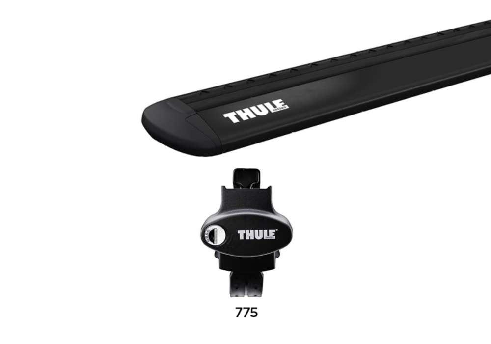 Bagażnik na reling z prześwitem Thule Evo WingBar + stopy Rapid System 775 - czarny